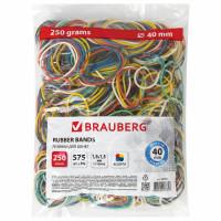 Brauberg 440164 Резинки банковские универсальные диаметром 40 мм, BRAUBERG 250 г, цветные, натуральный каучук, 440164