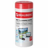 Brauberg 510122 Салфетки для экранов всех типов и оптики BRAUBERG, 13х17 см, туба 100 шт., влажные, 510122