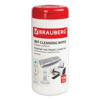 Brauberg 510123 Салфетки для пластиковых поверхностей BRAUBERG, 13х17 см, туба 100 шт., влажные, 510123