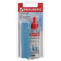 Brauberg 510341 Чистящий набор для экранов всех типов и оптики BRAUBERG, комплект салфетка и спрей, 100 мл, 510341