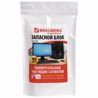 Brauberg 511685 Салфетки для экранов всех типов и пластика (запасной блок) BRAUBERG, пакет 100 шт., влажные, 511685