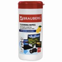 """Brauberg 511688 Салфетки для экранов всех типов и пластика BRAUBERG с ароматом """"ЛИМОН"""", туба 100 шт., влажные, 511688"""