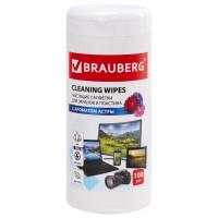 """Brauberg 511689 Салфетки для экранов всех типов и пластика BRAUBERG с ароматом """"АСТРА"""", в тубе 100 шт., влажные, 511689"""