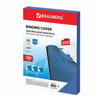 Brauberg 532156 Обложки картонные для переплета, А3, КОМПЛЕКТ 100 шт., тиснение под кожу, 230 г/м2, синие, BRAUBERG, 532156