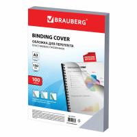 Brauberg 532157 Обложки пластиковые для переплета БОЛЬШОЙ ФОРМАТ А3, КОМПЛЕКТ 100 шт., 150 мкм, прозрачные, BRAUBERG, 532157