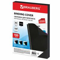 Brauberg 532164 Обложки картонные для переплета, А4, КОМПЛЕКТ 100 шт., тиснение под лен, 250 г/м2, черные, BRAUBERG, 532164