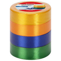 Brauberg 591502 Лента атласная ширина 25 мм, набор №2 4 цвета по 23 м, BRAUBERG, 591502