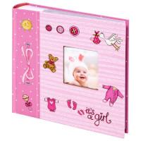 """Brauberg  Фотоальбом BRAUBERG """"It's a girl"""" на 200 фото 10х15 см, твердая обложка, бумажные страницы, бокс, розовый, 391145"""