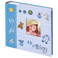 """Brauberg  Фотоальбом BRAUBERG """"It's a boy"""" на 200 фото 10х15 см, твердая обложка, бумажные страницы, бокс, голубой, 391146"""