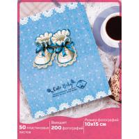 """Brauberg  Фотоальбом BRAUBERG """"Baby shoes"""" на 200 фото 10х15 см, твердая обложка, термосклейка, голубой, 39114"""