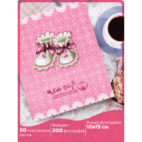 """Brauberg  Фотоальбом BRAUBERG """"Baby shoes"""" на 200 фото 10х15 см, твердая обложка, термосклейка, розовый, 39114"""
