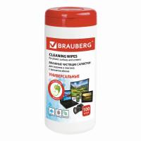 Brauberg  Салфетки для экранов всех типов и пластика BRAUBERG с ароматом ЯБЛОКО, туба 100 шт., влажные, 513286
