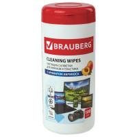 Brauberg  Салфетки для экранов всех типов и пластика BRAUBERG с ароматом АБРИКОС, туба 100 шт., влажные, 513321