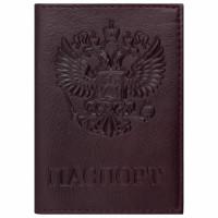 "Brauberg  Обложка для паспорта натуральная кожа ""Virginia"", ""Герб"", темно-бордовая, BRAUBERG, 237199"