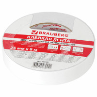 Brauberg 600487 Клейкая двухсторонняя лента 25 мм х 8 м, НА ВСПЕНЕННОЙ ОСНОВЕ, 1 мм, прочная, BRAUBERG, 600487
