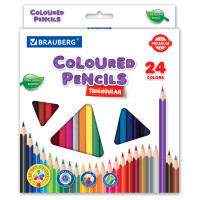 Brauberg  Карандаши цветные BRAUBERG PREMIUM, 24 цвета, трехгранные, грифель мягкий 3,3 мм, 181653