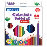 Brauberg  Карандаши цветные BRAUBERG PREMIUM, 24 цвета, шестигранные, грифель мягкий 3,3 мм, 181658