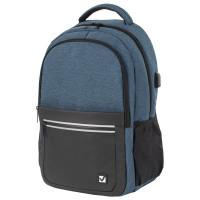Brauberg  Рюкзак BRAUBERG URBAN универсальный, с отделением для ноутбука, USB-порт, Denver, синий, 46х30х16 см, 229893