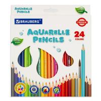 Brauberg  Карандаши цветные акварельные BRAUBERG PREMIUM AQUARELLE, 24 цвета, грифель мягкий 4 мм, 181673