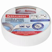 Brauberg  Клейкая двухсторонняя лента 25 мм х 8 м, ПОЛИПРОПИЛЕНОВАЯ ОСНОВА, 90 микрон, BRAUBERG, 606425