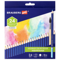 Brauberg  Карандаши художественные цветные акварельные BRAUBERG ART CLASSIC, 24 цвета, грифель 3,3 мм, 181530
