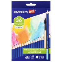Brauberg  Карандаши художественные цветные акварельные BRAUBERG ART CLASSIC, 36 цветов, грифель 3,3 мм, 181531