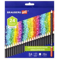 Brauberg  Карандаши художественные цветные BRAUBERG ART CLASSIC, 24 цвета, МЯГКИЙ грифель 3,3 мм, 181537