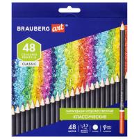 Brauberg  Карандаши художественные цветные BRAUBERG ART CLASSIC, 48 цветов, МЯГКИЙ грифель 3,3 мм, 181539