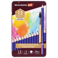 Brauberg  Карандаши художественные цветные акварельные BRAUBERG ART PREMIERE, 12 цветов, грифель 4 мм, металл 181533
