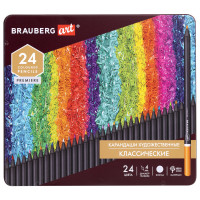 Brauberg  Карандаши цветные художественные BRAUBERG ART PREMIERE, 24 цвета, МЯГКИЙ грифель 4 мм, металл, 181541