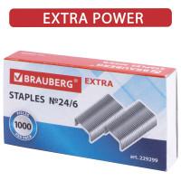 """Brauberg  Скобы для степлера цинковое покрытие №24/6, 1000 штук, BRAUBERG """"EXTRA"""", до 30 листов, 229299"""