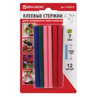 Brauberg 670315 Клеевые стержни, диаметр 7 мм, длина 100 мм, цветные (ассорти), КОМПЛЕКТ 12 шт., 6 цветов, BRAUBERG, блистер, 670315