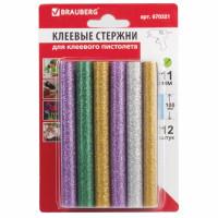 Brauberg 670321 Клеевые стержни, диаметр 11 мм, длина 100 мм, цветные (ассорти), С БЛЕСТКАМИ, КОМПЛЕКТ 12 шт., 6 цветов, BRAUBERG, 670321