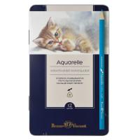 BRUNO VISCONTI 30-0037 Карандаши цветные акварельные BRUNO VISCONTI Aquarelle, 12 цветов, металлический пенал, 30-0037