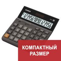 CASIO DH-16-BK-S-EP Калькулятор настольный CASIO DH-16-BK-S, КОМПАКТНЫЙ (159х151 мм), 16 разрядов, двойное питание, черный/серый, DH-16-BK-S-EP