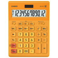 CASIO GR-12C-RG-W-EP Калькулятор настольный CASIO GR-12С-RG (210х155 мм), 12 разрядов, двойное питание, ОРАНЖЕВЫЙ, GR-12C-RG-W-EP
