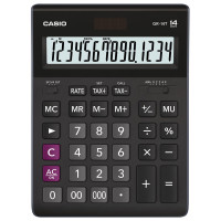 CASIO GR-14T-W-EP Калькулятор настольный CASIO GR-14T-W (210х155 мм), 14 разрядов, двойное питание, черный, GR-14T-W-EP