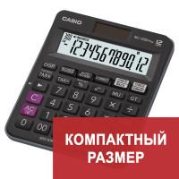 CASIO MJ-120DPLUS-W-E Калькулятор настольный CASIO MJ-120DPLUS-W, КОМПАКТНЫЙ (148х126 мм), 12 разрядов, двойное питание, черный, MJ-120DPLUS-W-E