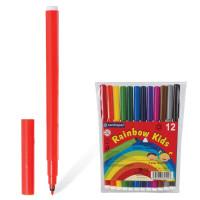 """CENTROPEN 7550/12 Фломастеры 12 ЦВЕТОВ CENTROPEN """"Rainbow Kids"""", круглые, смываемые, вентилируемый колпачок, 7550/12ET, 7 7550 1202"""