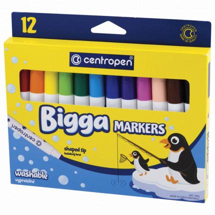 """Фломастеры утолщенные 12 ЦВЕТОВ CENTROPEN """"Bigga Markers"""", смываемые, вентилируемый колпачок, 7650/8KK, 7 7650 1201 (арт. 7 7650 1201)"""