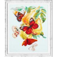 Чудесная игла Бабочки на груше Набор для вышивания «Чудесная игла» 130-051 Бабочки на груше