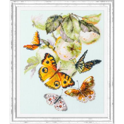 Набор для вышивания Бабочки на яблоне Набор для вышивания «Чудесная игла» 130-052 Бабочки на яблоне