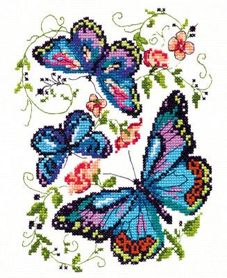 Набор для вышивания Набор для вышивания «Чудесная игла» 42-03 Синие бабочки Набор для вышивания «Чудесная игла» 42-03 Синие бабочки
