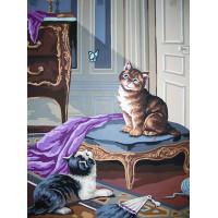 "Collection D`Art серия 10.000 Канва/ткань с рисунком ""Collection D`Art"" серия 10.000 40 см х 50 см 10417 Котята"