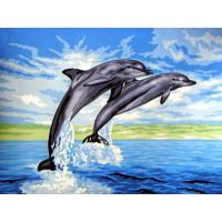 """Collection D`Art серия 10.000 Канва/ткань с рисунком """"Collection D`Art"""" серия 10.000 40 см х 50 см 10429 Дельфины"""