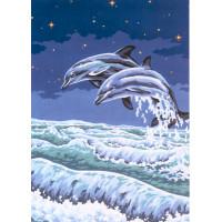 "Collection D`Art серия 11.000 Канва/ткань с рисунком ""Collection D`Art"" серия 11.000 60 см х 50 см 11497 Два дельфина"