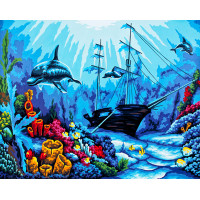 "Collection D`Art серия 11.000 Канва/ткань с рисунком ""Collection D`Art"" серия 11.000 60 см х 50 см 11519 Затонувший фрегат"