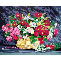 "Collection D`Art серия 11.000 Канва/ткань с рисунком ""Collection D`Art"" серия 11.000 60 см х 50 см 11581 Корзина с цветами"