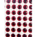20853 Глазки клеевые,(красные, черный круглый зрачок)