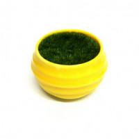 27082 Горшочек жёлтый с иск.травой, ( пластик, иск.материал)